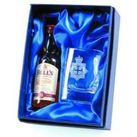 Crystal square tot glass and 5cl miniature whisky