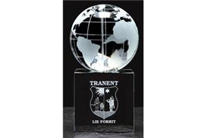 60mm globe on a 50mm black glass base 105mm high