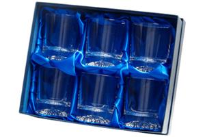Satin lined box to hold 6 tumblers