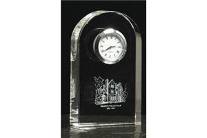 Optical Crystal arch holding a silver clock 116mm high