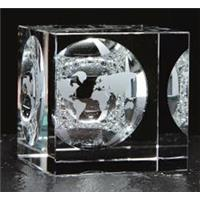 Crystal 60mm square cube with mirror image of world map