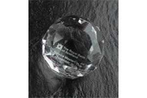 Optical Crystal 50mm facetted sphere in a satin lined box