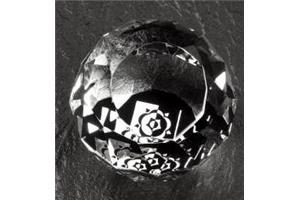 Optical Crystal 50mm facetted sphere with black onyx
