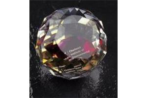 Optical Crystal 50mm facetted sphere with satin lined box