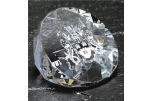 Optical Crystal Cut Paperweight 75mm diameter in a sati
