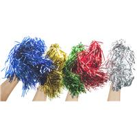 Pom-Pom with coloured bands of foil.