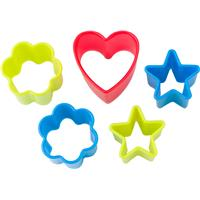 Plastic 5pc cookie cutter set.