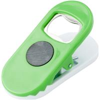 Bottle opener with large clip and magnet.