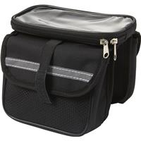 Bicycle bag with reflective strip.