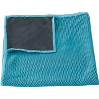 Sports towel in a drawstring nylon pouch