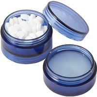Plastic screw lid pot with sugar free mints and lip balm.