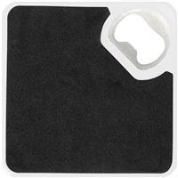 Coaster with bottle opener and non-slip base.