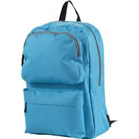 Polyester backpack (600D) with various closable storage compartments.