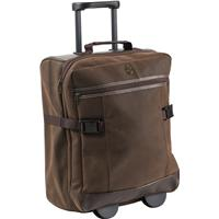 Travel trolley made from a split leather material.