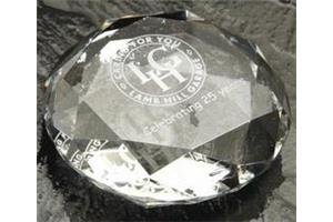 Optical Crystal Paperweight 70mmx20mm in a satin lined