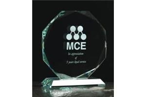 Jade Green Medium Octagon Award 145mm high in a satin box