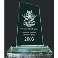 Jade Green Large Peak Trophy 210mm high in a satin line