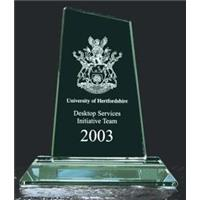 Jade Green Small Peak Trophy 130mm high in a satin lined box