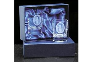 Pair crystal square tot glasses in a satin lined box