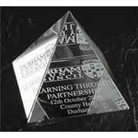 Optical Crystal 100mm pyramid in a satin lined box