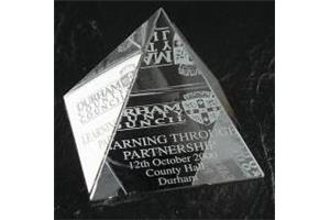 Optical Crystal 50mm pyramid in a satin lined box