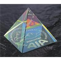 Optical Crystal 50mm pyramid with spectral finish in a satin box