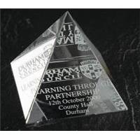 Optical Crystal 60mm pyramid in a satin lined box