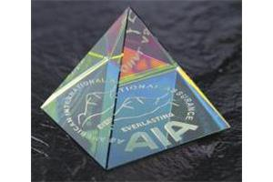 Optical Crystal 60mm pyramid with spectral finish in a satin box